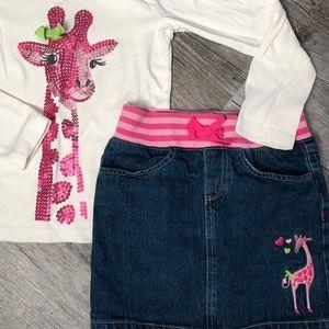 Girls' Gymboree Giraffe Club Skirt Tee  Size 8
